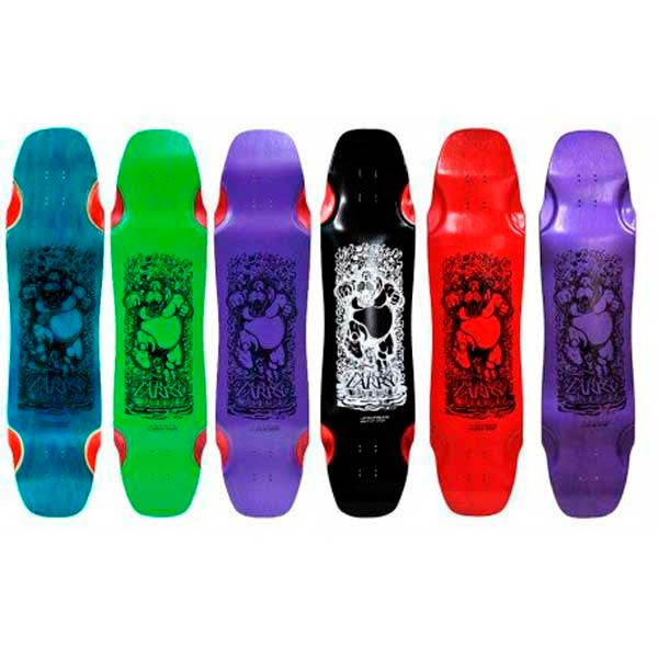 Multi colored collection of Hippo longboard decks