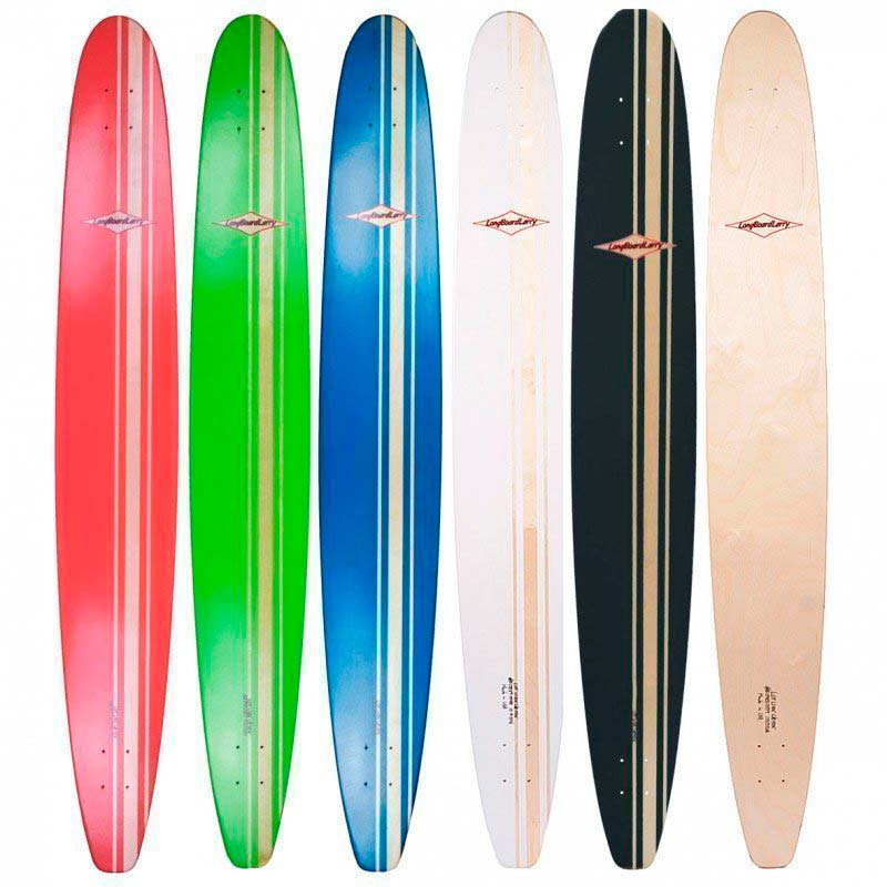 Colorful collection of OSD longboard decks